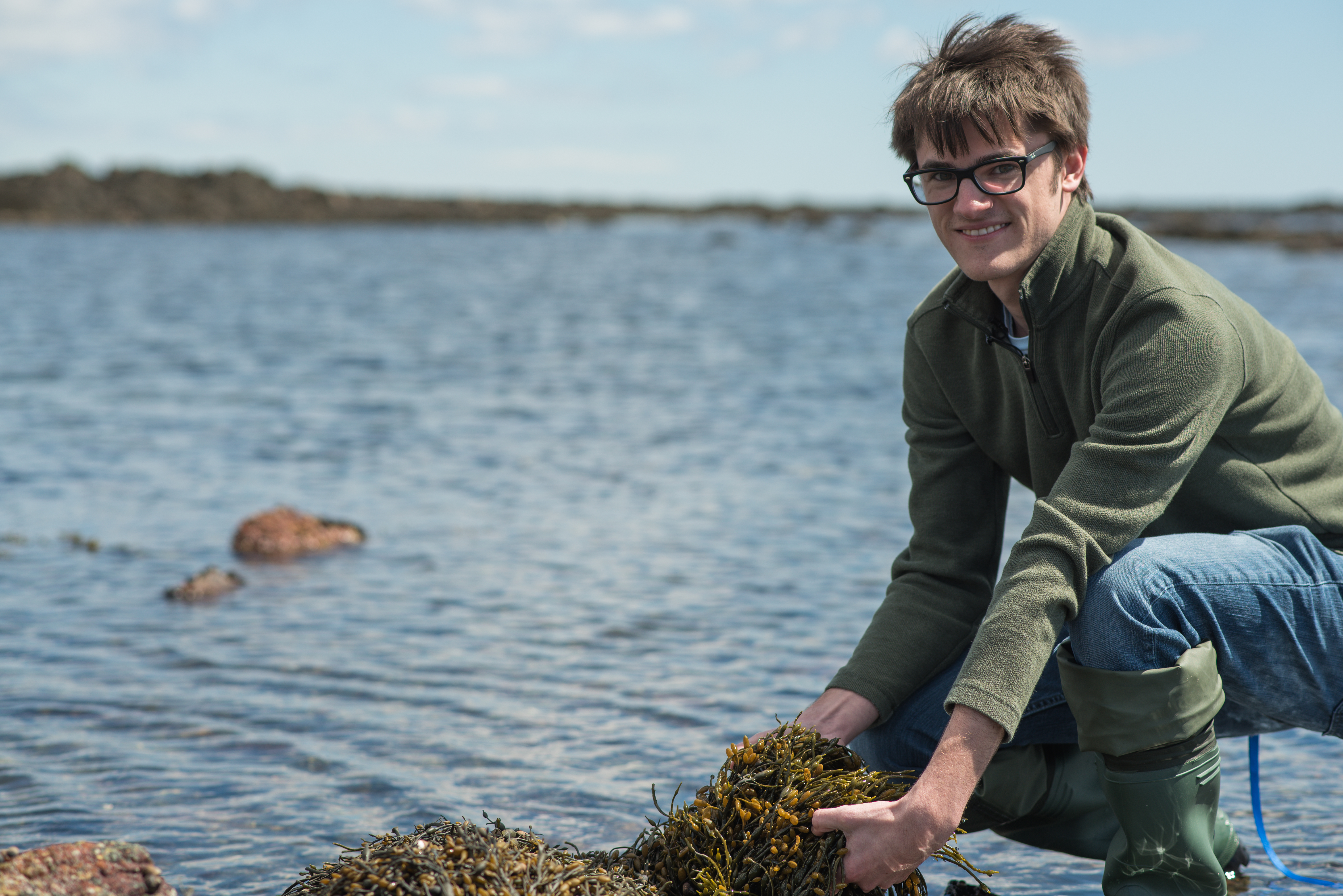 Young man with short dark hair and black glasses crouches down by rocky ocean shoreline with handful of olive grey seaweed.