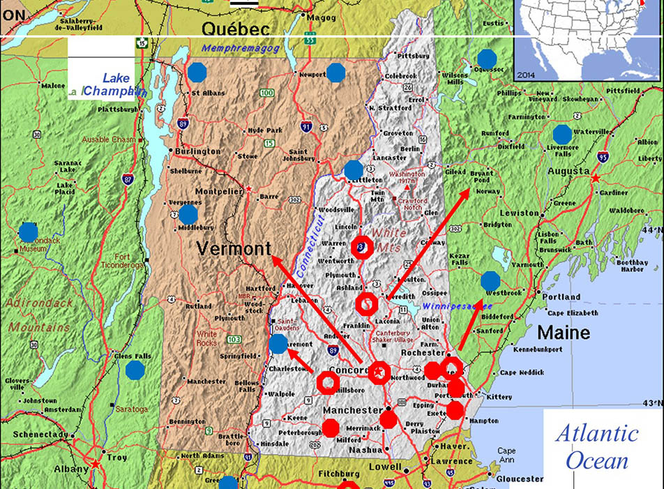 Map of NH with dots indicating magnetometer locations