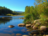 A rocky river in the White Mountains of New Hampshire