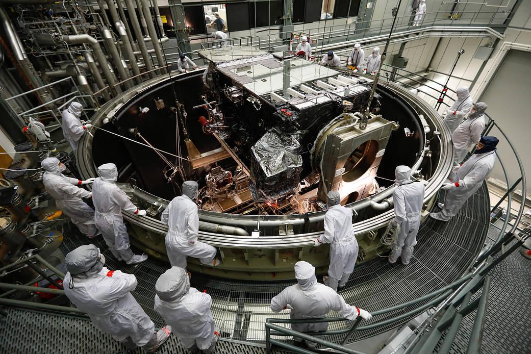 A satellite in a lab