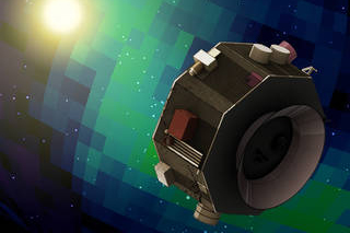 An octagonal satellite in space