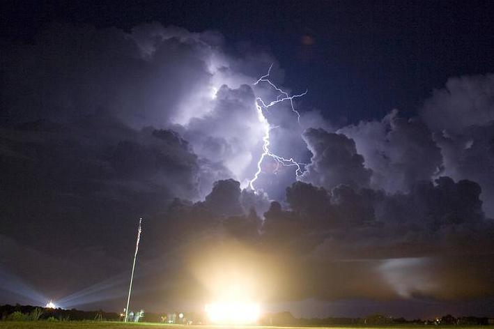 white blue lightning strike