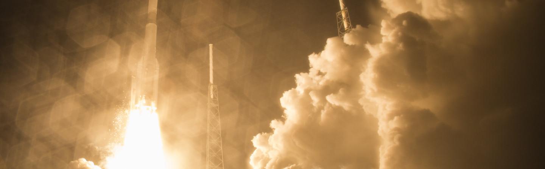 Rocket ship blasts off