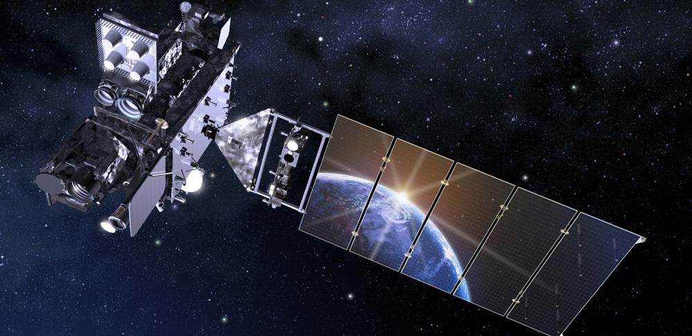 An artist's rendering of a satellite in space with solar panels reflecting the Earth's surface.