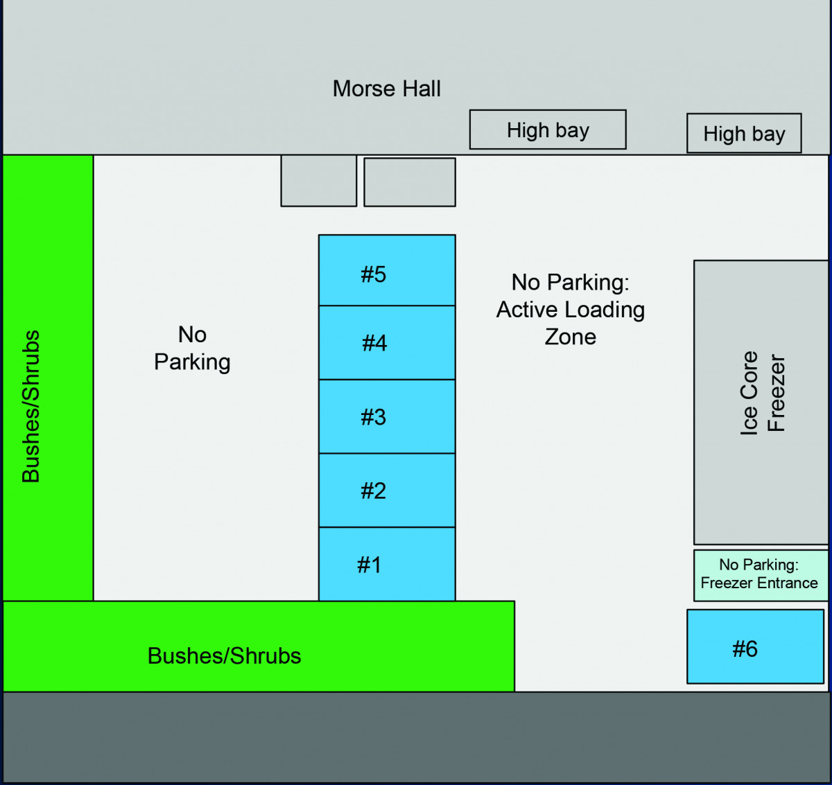 Diagram of parking spots near Morse Hall
